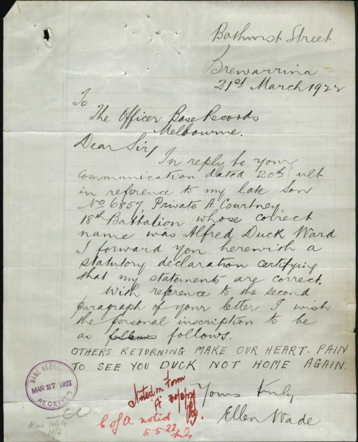 letter from mother 1922