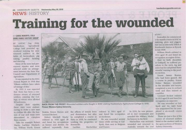 Returned soldiers HAC Hawkesbury Gazette 9 May 2018
